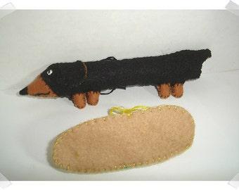 Dachshund- Dog Ornament - removable Bun/Black & Rusty Color/ Made of Felt/Handmade*/ Made to Order*