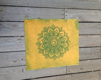 100% Cotton Unfinished Yellow/Green Discharged BoHo Hippie Mandala Fabric