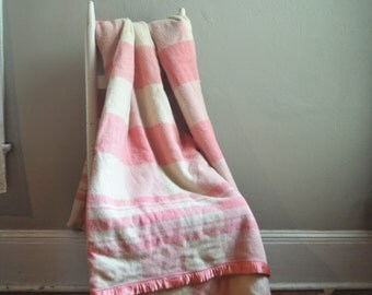 Vintage  Wool Camp Blanket Pink and Off White Plaid Classic Americana