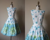 50s Dress - Vintage 1950s Dress - Blue Chartreuse Olive Border Print Floral Cotton Sundress L XL - First of June Dress