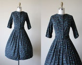 50s Dress - Vintage 1950s Dress - Black Olive Aqua Cotton Floral Atomic Full Skirt Shirt Dress S - Winter Garden Dress