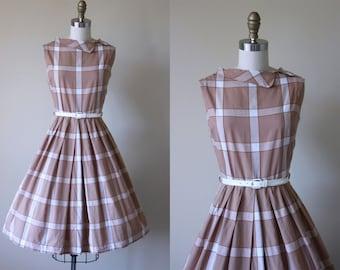 50s Dress - Vintage 1950s Dress - Neutral Brown Plaid Cotton Full Skirt Sundress M L - Toffee Chip Dress