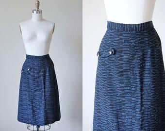 50s Skirt - Vintage 1950s Black Blue Fleck Wool Sheath Skirt w Rhinestones L - Electric Blue Skirt