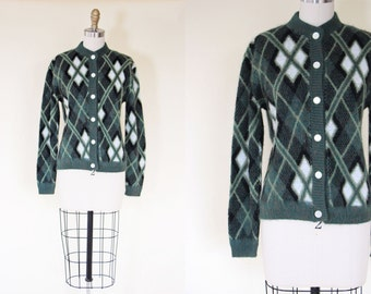1950s Sweater - Vintage 50s Argyle Cardigan - Kurt Fuzzy Teal Olive Green Arrow Mohair Cardigan - Unplugged Sweater