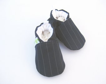 Classic Pinstripes in Navy Blue / All Fabric Soft Sole Baby Shoes / Made to Order / special occasion