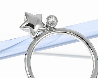 Silver Star and Moonstone Ring | Stacking Ring | Stargazing | Handmade Silver Ring