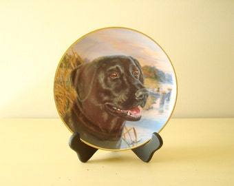 Awaiting His Master's Call, Labrador retriever, Franklin Mint collectible plate, Randy McGovern, lab lovers gift, black labs