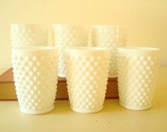 6 Fenton milk glass tumblers, 5 ounce glasses, white hobnail milk glass, 1950s kitchen decor, wedding table decor, bridal shower gift