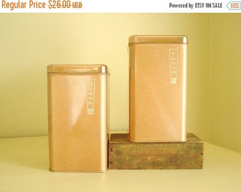Coppertone Canister Set by BeautyWare, FLOUR and SUGAR canisters, mid-century kitchen storage, speckled copper finish, vertical lettering