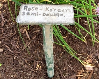 Garden Marker c1930s  Upstate New York Vintage Plant Marker Rose Korean Semi-Double