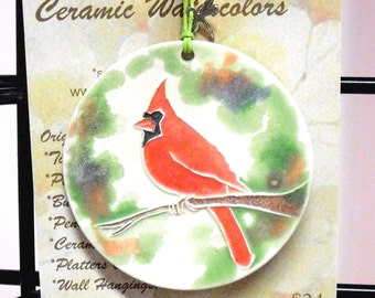 Textured Ceramic-Watercolor Red Cardinal Tree ORNAMENT