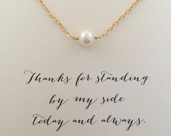 Gold Bridesmaid Necklace, Bridesmaid Pearl Necklace, Silver or Gold, Bridesmaid Jewelry, Bridesmaid Gift Ideas, Silver Pearl Necklace,  SGC1