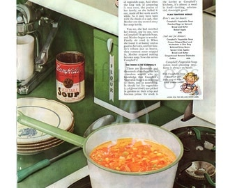 1939 Campbell's Soup Vintage Ad, 1930's Cooking, 1930's Kitchen, Retro Decor, Advertising Art, Vegetable Soup, Retro Kitchen, Great to Frame
