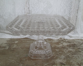 Vintage Glass Cake Stand Square Pedestal Cake Stand Cupcake Dessert Stand Serving Tableware Wedding Birthday Bridal Shower Baby Shower