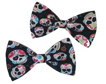 Day of the Dead Skulls Bow Tie - Black Cat or Dog Pet Bowtie - Hair Clip - Halloween Self Tie