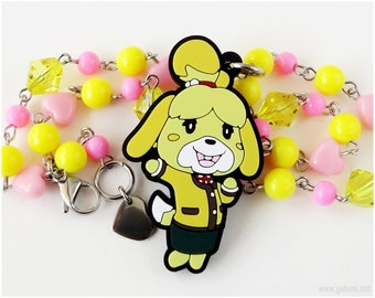 Animal Crossing New Leaf Isabelle Beaded Necklace, Pink, Yellow, Gamer Girl, Gamer Gifts, Decora, Kawaii