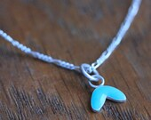 Turquoise Cress Necklace | Handmade  Enamel and Silver Pendant with Chain