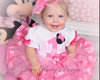 Minnie mouse first birthday outfit with pink polka dot ribbon and super full poofy tutu made with ANY age and name