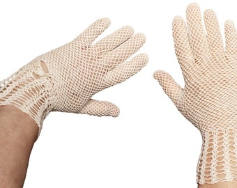 1930s White Crochet Gauntlet Gloves - 7