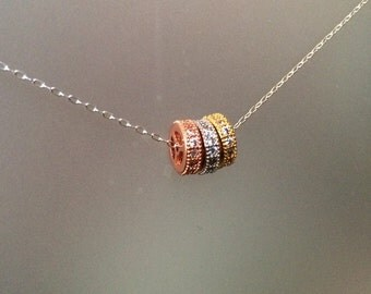 Triple tone pave sterling silver necklace - Everyday Necklace - Layering Necklace - Two tone Necklace