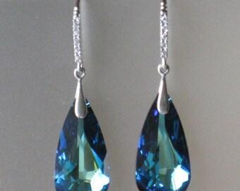 Bermuda Blue Tear Swarovski Earrings