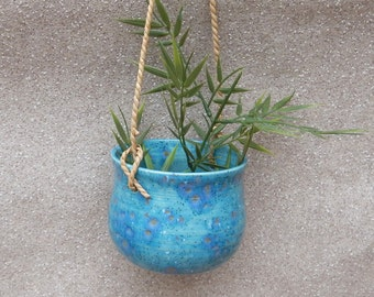 Hanging herb planter hand thrown pottery ceramic plant pot