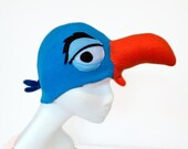 Blue Hornbill Bird Hat. Africa, Big Beak.