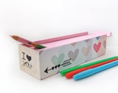 Valentine Pastel Hearts with Geometric Arrow Pencil Box Case -Trendy Kids Crayon Box - Coloring book pencil box storage