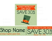 Etsy Banners - Etsy Shop Banners - St Patricks Day Etsy Banners - Saint Patrick's Day Etsy Sale 1 - 2 Piece Set