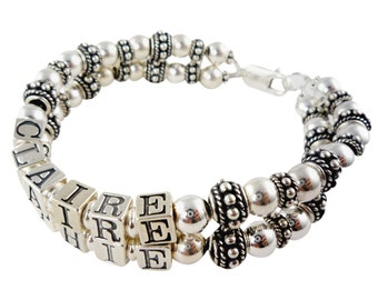 Sterling silver Mother's Bracelet in your choice of personalization and number of strands/ name