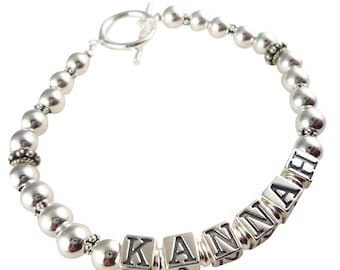 Sterling silver Mother bracelet with child or children's names or Grandma , any personalization and length
