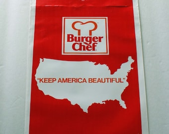 Burger Chef Keep America Beautiful 1970s Car Trash Bag Vintage Plastic Garbage