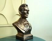 Vintage Abraham Lincoln Bronze Glazed Plaster Bust