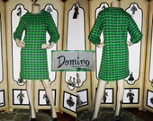 1960's MOD Green and Purple Check Dress by Domino. XL