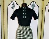 Vintage 1960's Black Ribbed Short Sleeve Shirt. Small.