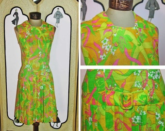 1960's Psychadelic Cotton Scooter Dress. Small.