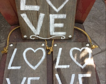 Love Sign Hand Painted Vintage Wood, Wedding Sign, Valentine