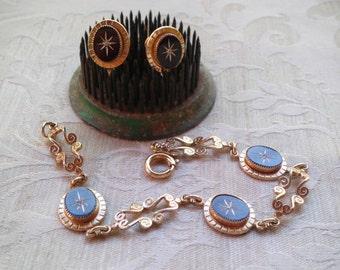 Vintage Amco 14Kt GF Bracelet & Screwback Earrings Demi