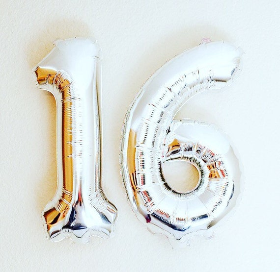 Silver 16 Numbers Number 16 Balloon 16th Birthday By
