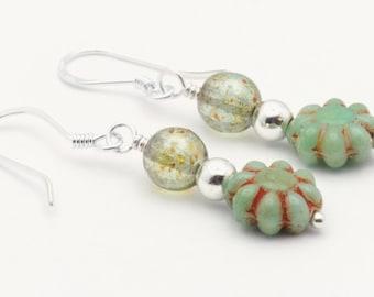 Flower Cute Earrings | Blue Green Earrings | Earrings Floral | Boho Minimalist Earrings | Czech Glass Earrings | Sterling Silver - EA00453