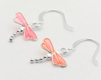 Delicate Dragonfly Earrings, Pink, Dragonfly Earrings, Silver Plated