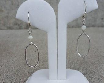 Oval Hoop Earrings with White MOP Bead