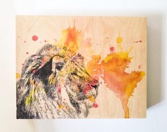 Lion Painting Animal Art on Wood Animal Nursery Art Decor Wall Art Lion Painting on Wood Wall Art Lion Wall Art Animal Painting Wall Decor