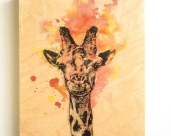 Wood Wall Art Panel Giraffe Animal Art on Wood Giraffe Nursery Art Decor Great Giraffe Painting on Wood Wall Art Nursery Decor