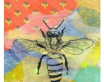 Honey Bee Art Print From Original Watercolor Animal Painting 8 X 10 Print Great Kids Children Wall Art Honey Bee Art