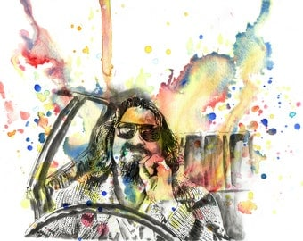 The Big Lebowski Art Print Watercolor Painting Portrait of The Dude Fine Art print 8 x 10 in. Movie Poster Print