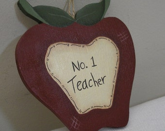 Hand Painted Wood Apple Ornament - No. 1 Teacher