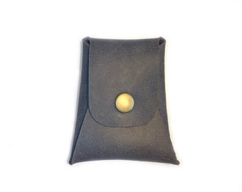 Man's Gray Leather Case - Gift For Him - Man's Gifts - Small Gray Leather Case -  Gray  Leather Card Holder - Mini Leather Case Wallet