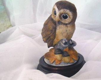 vintage bone china Owl figure on beveled wooden base by ANDREA for Sadek circa. 1960's signed and numbered