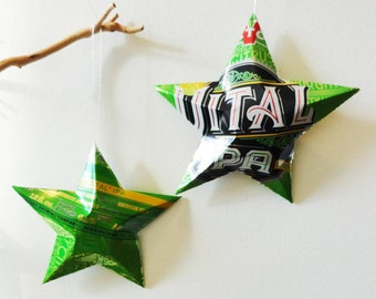 Vital IPA Beer Stars, Ornaments, Aluminum Can, Upcycled, Victory Brewing Company, Lime Green